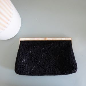 Vintage Black Italian Beaded Clutch Gold Accents